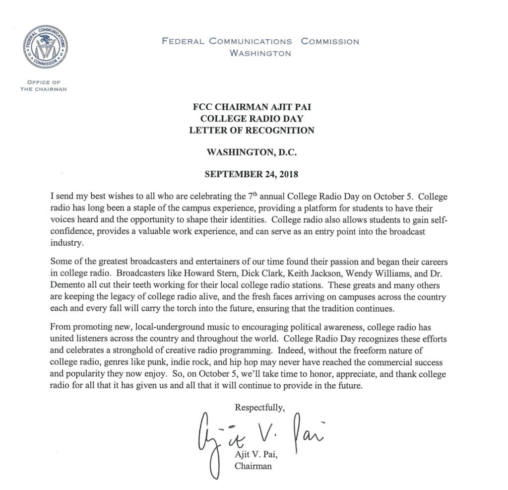 Tomorrow is CRD 2018! Letter From FCC's Chairman Ajit Pai