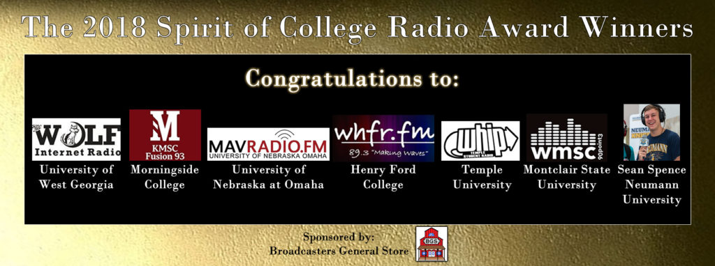 Announcing the winners of the 2018 Spirit of College Radio Awards